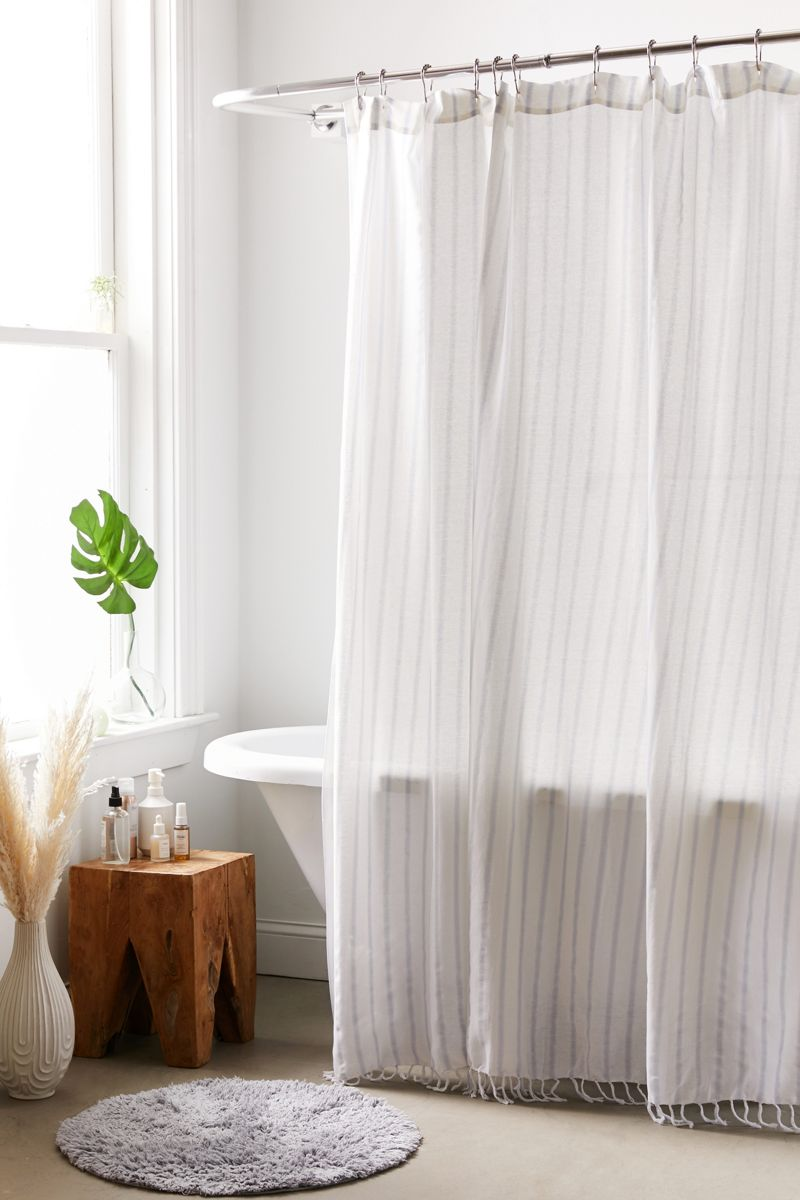 Striped shower curtain with fringe