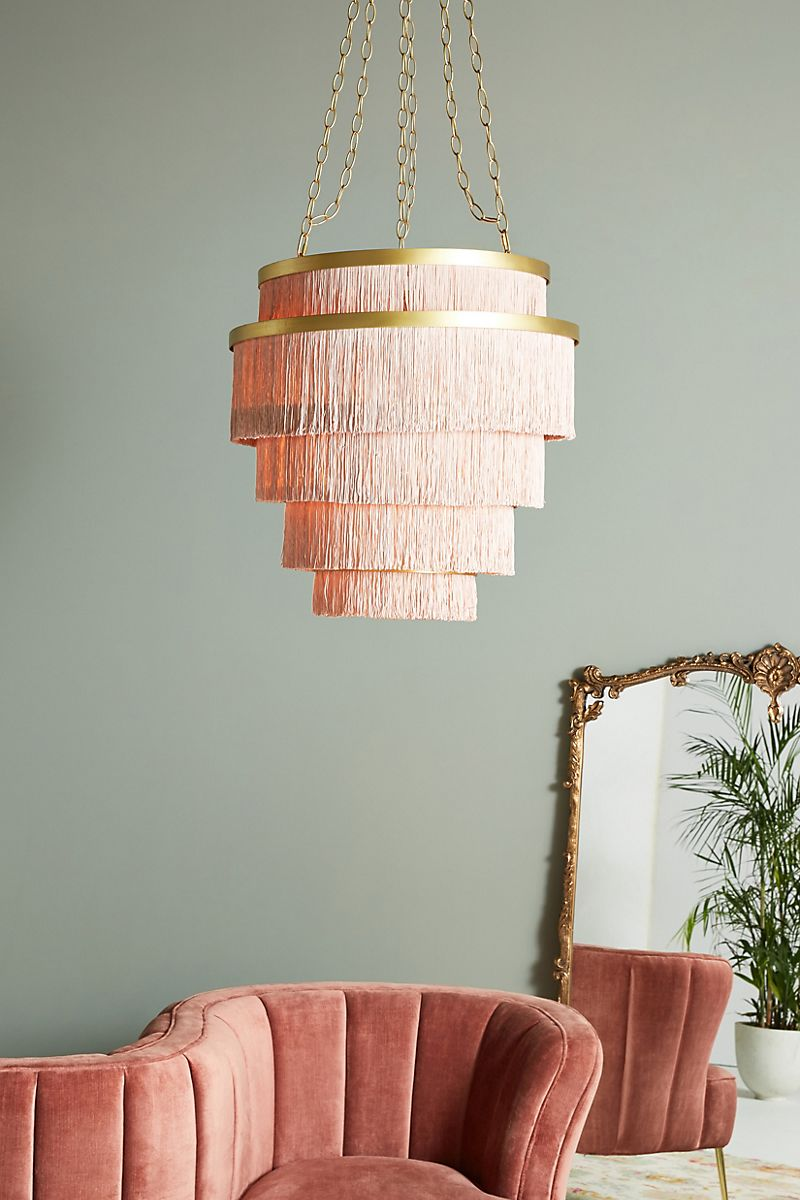 Tiered-fringe-chandelier-in-pink