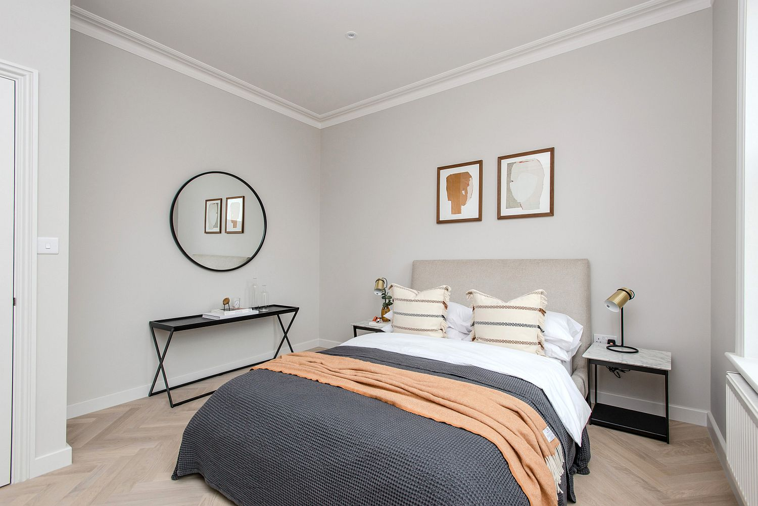 Tiny bedroom in gray for the small contemporary apartment in London