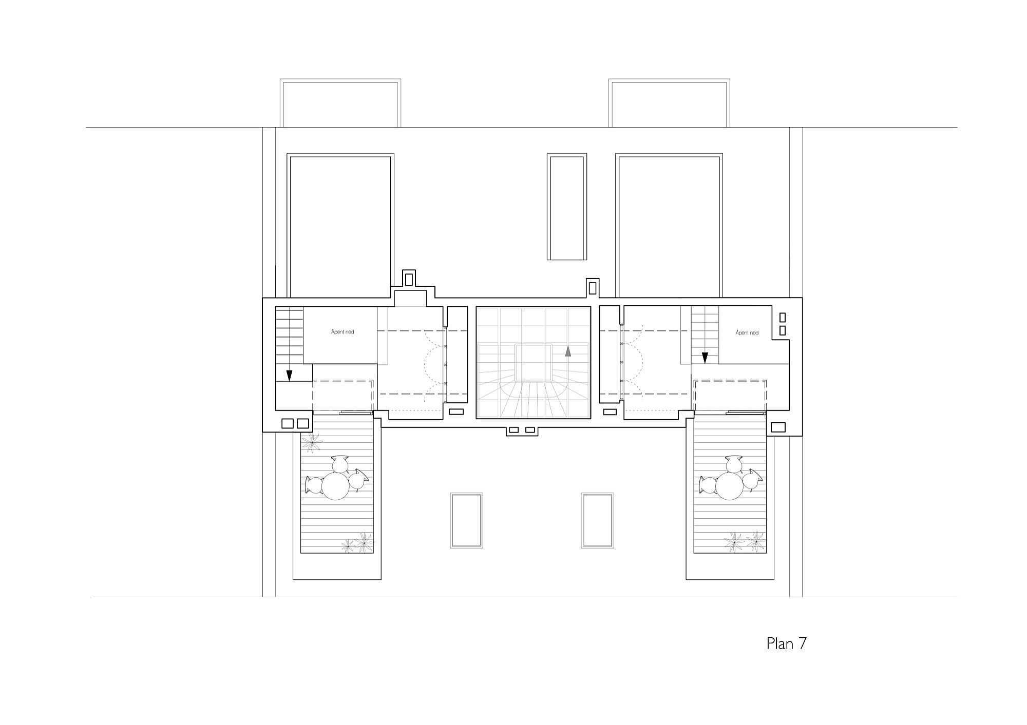 Upper level floor plan of the apartments