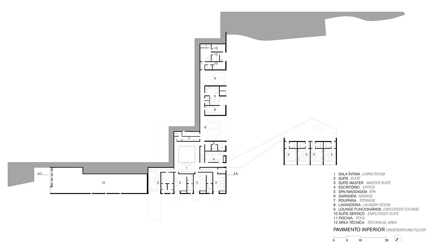 Upper level floor plan that holds the public areas