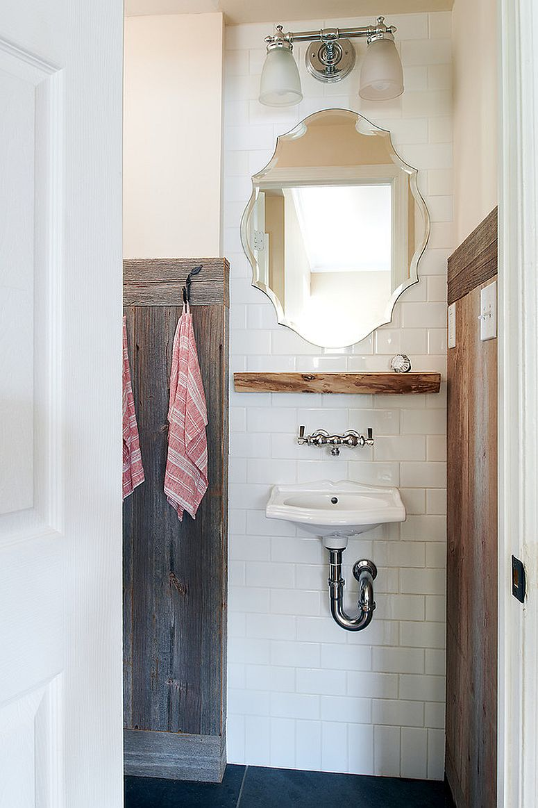 Using white in the small rustic bathroom gives it a more modern look