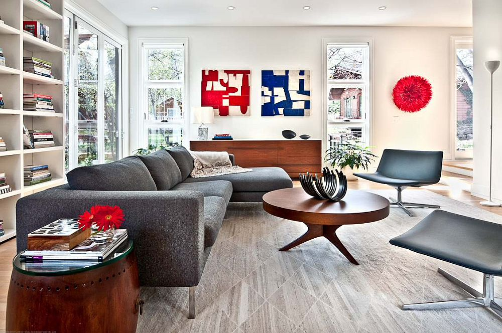 Vivacious hints of red and blue for the living room