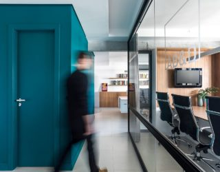 Brilliant Bathroom in Green Brings Vivacious Color into this Modern Office