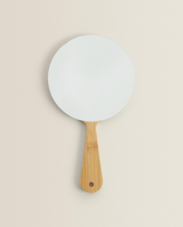 Wooden hand-held mirror