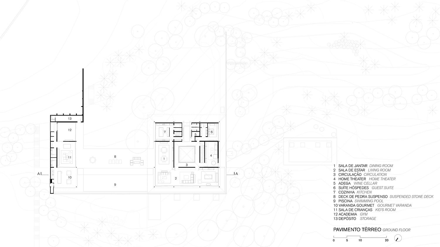 floor plan of contemporary Bela Vista House in Brazil