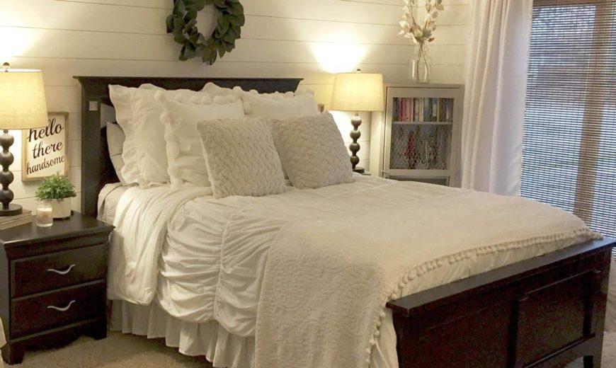 shiplap-bedroom-with-mahogany-furniture-870x520