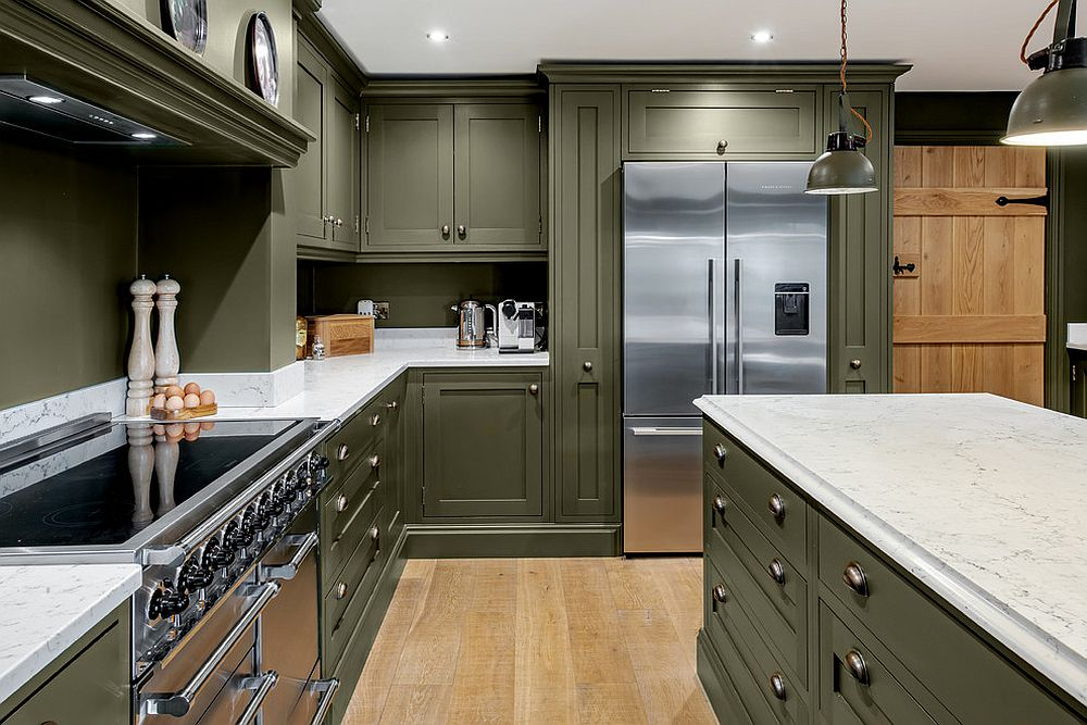An overload of green in the kitchen along with white