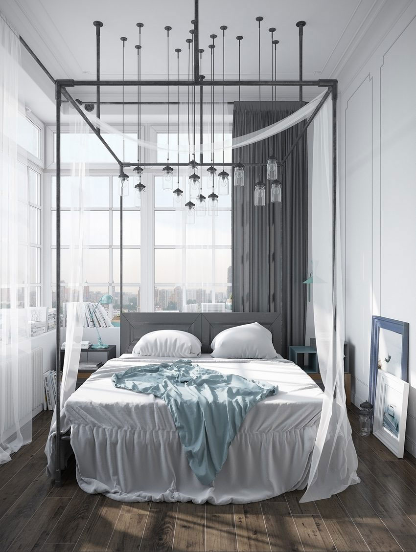 Apartment-with-an-industrial-bed-frame-canopy