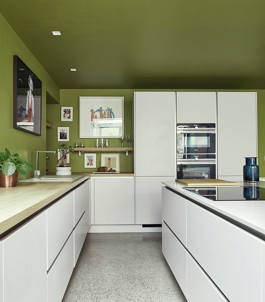 Balanced use of white and green in the space-savvy contemporary kitchen