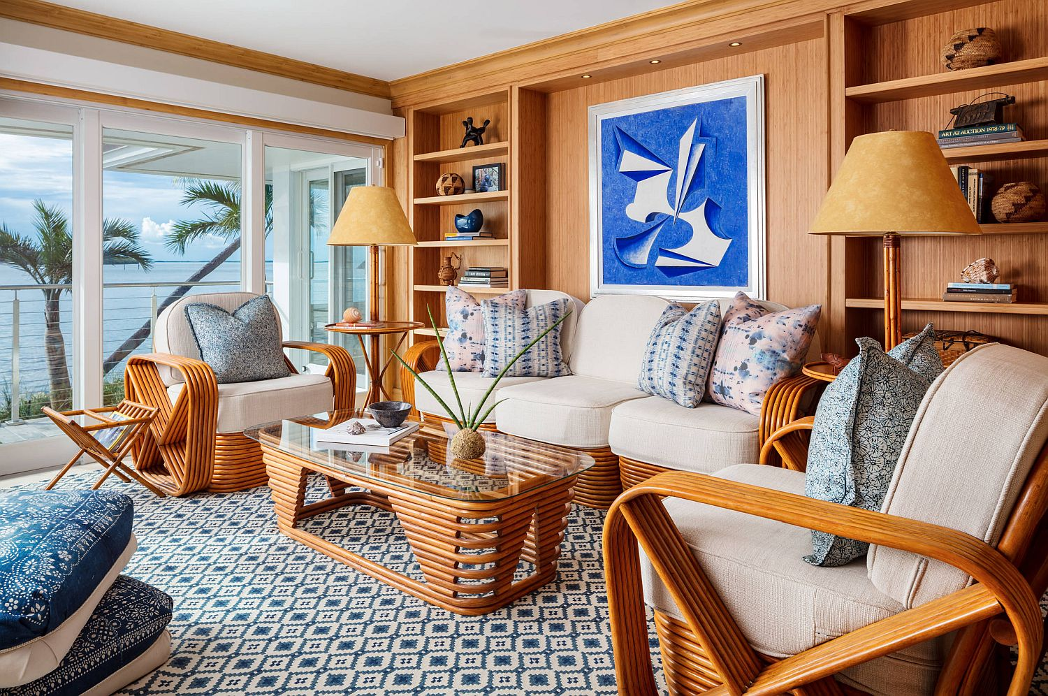 Beach style coupled with tropical zest in the woodsy and compact living room