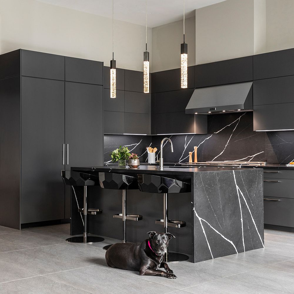 Black-cabinets-and-stone-kitchen-island-gives-the-contemporary-kitchen-a-polished-look