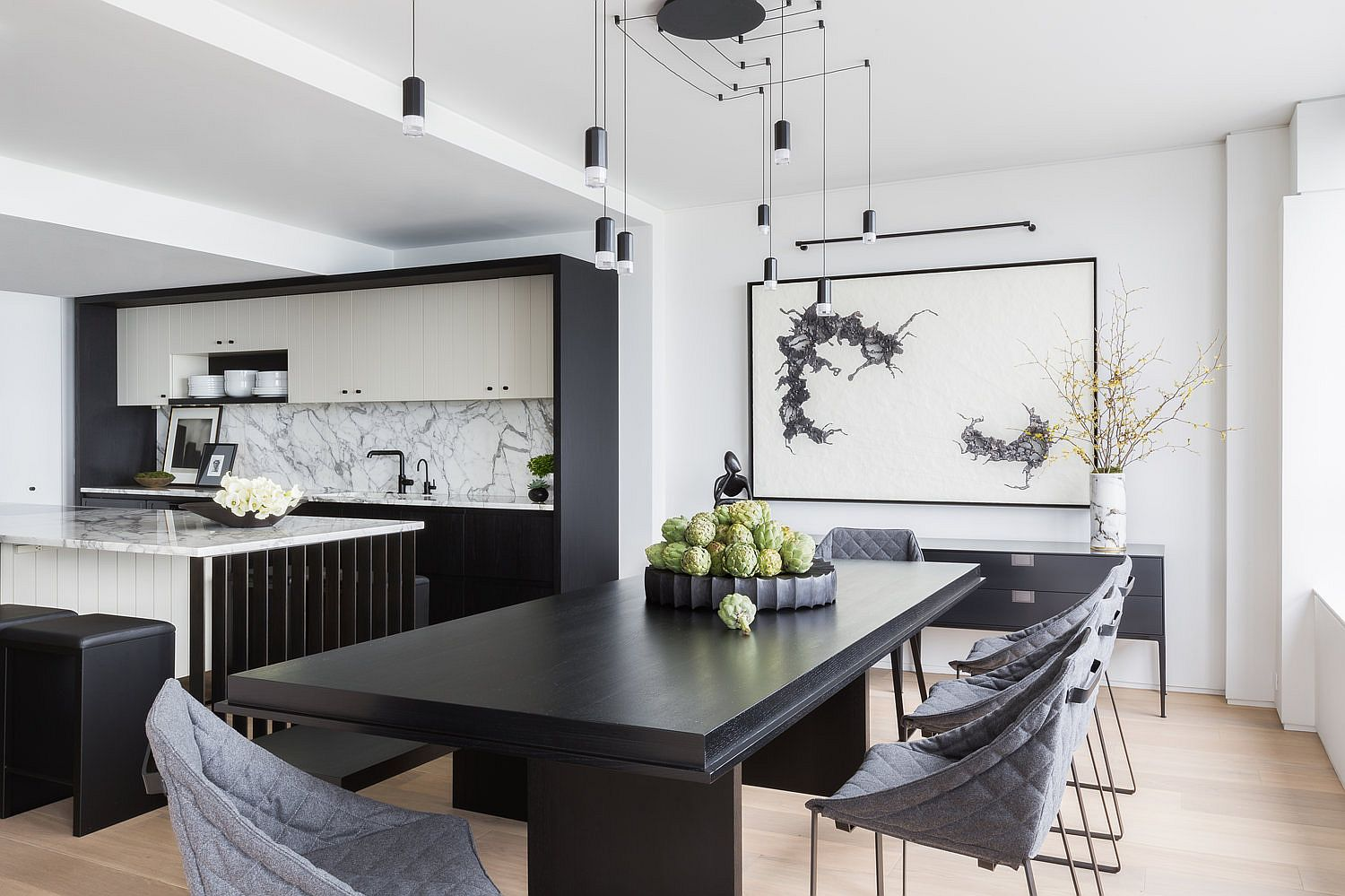 Black, gray and stone combine to give the revamped interior a whole new look