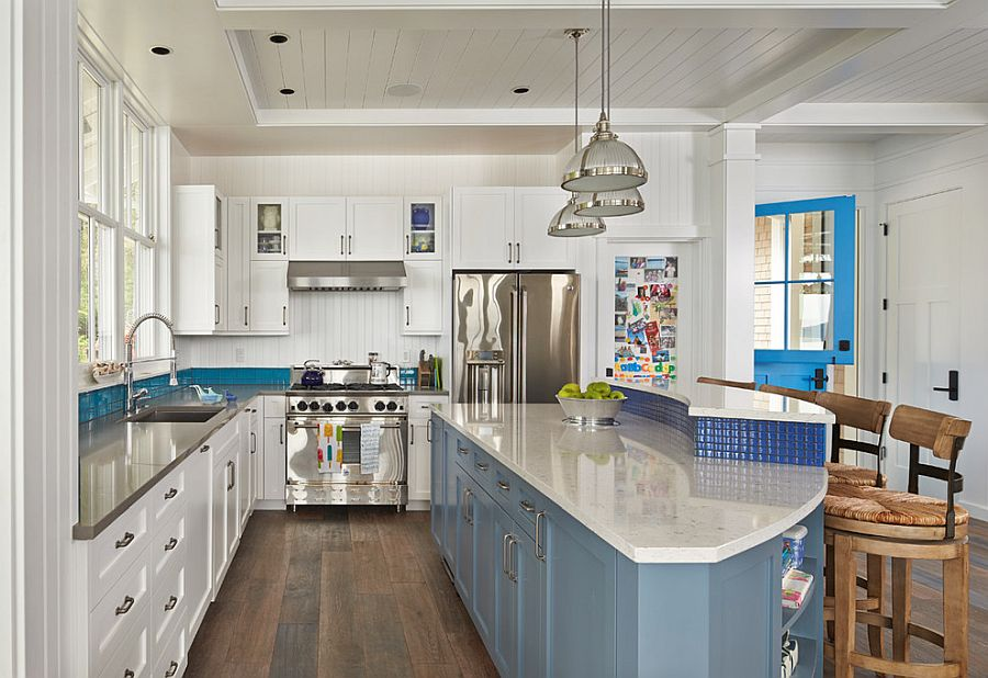 Blue accents for the modern beach style kitchen in white