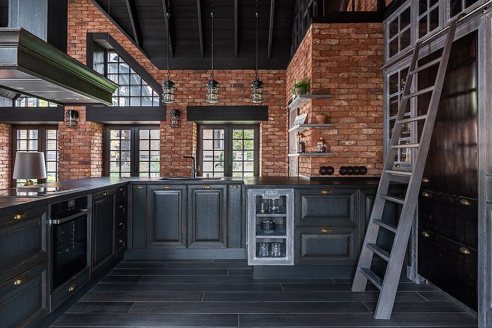 Brick-coupled-with-black-in-the-modern-industrial-kitchen