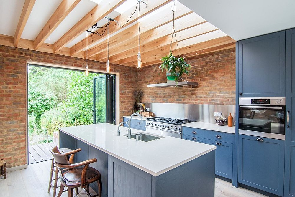 Brick coupled with blue in the relaxed rustic-beach style kitchen