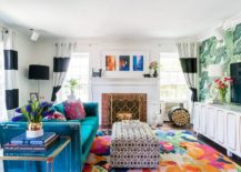 Brilliant-blue-couch-and-multi-colored-rug-for-the-small-tropical-style-living-space-217x155