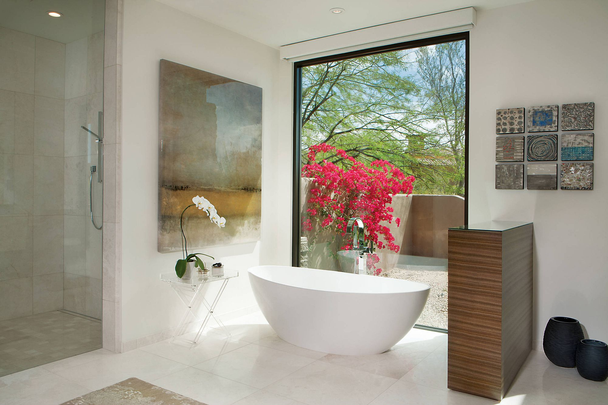 Choosing the right wall art for the contemporary bathroom with spa-inspired look