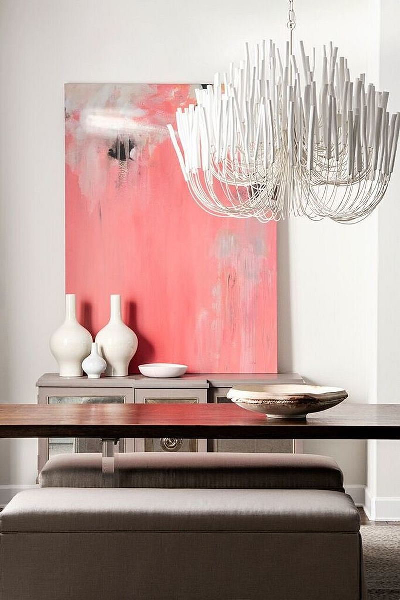Classy way to add pink to the glam contemporary dining room