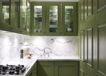 Combining-marble-with-dark-green-charisma-in-the-narrow-well-lit-kitchen-217x155