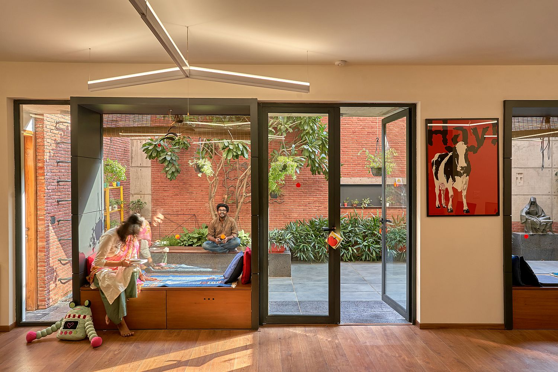 Comfortable interior of the studio in brick and glass