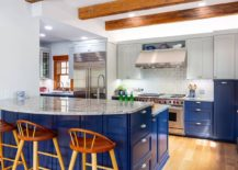 Craftsman-style-kitchen-in-Classic-Blue-and-white-with-wooden-ceiling-beams-217x155