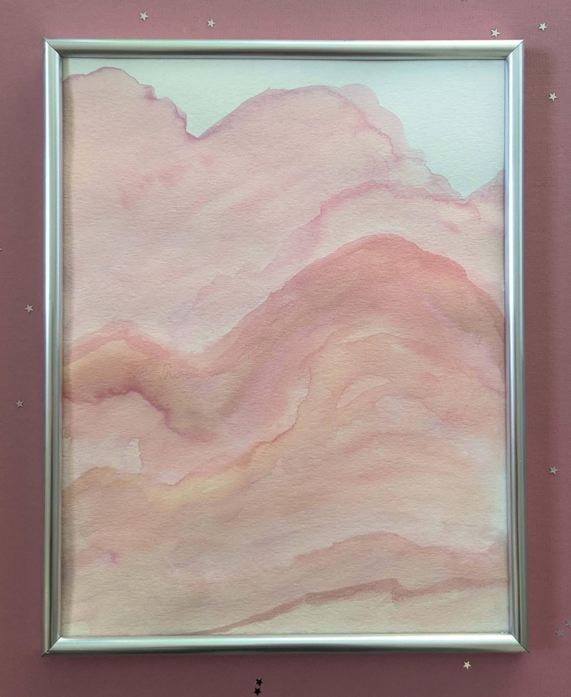 DIY pink and peach watercolor art