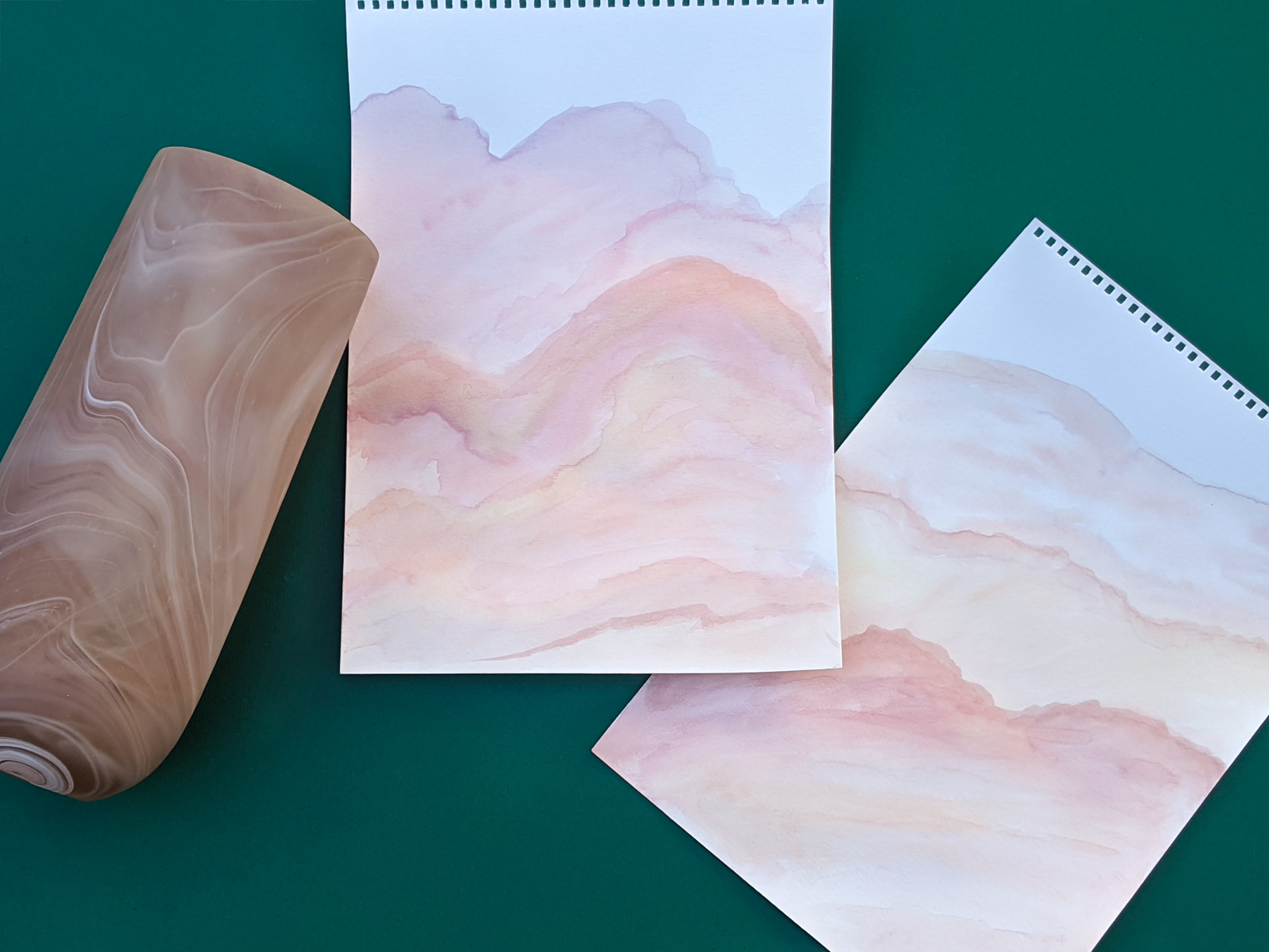 DIY watercolor paintings inspired by a marbleized vase