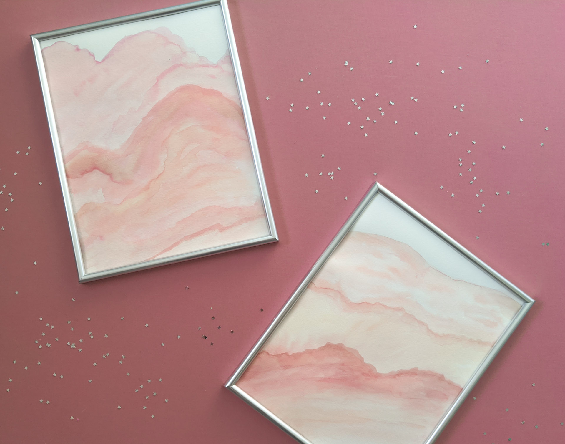 DIY watercolor wall art in peach and pink