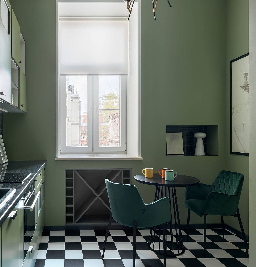 Eclectic kitchen in green for the small urban Moscow apartment