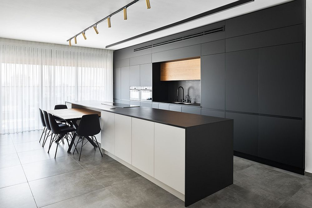 Exquisite-contemporary-kitchen-with-white-ceiling-track-lighting-and-black-cabinets