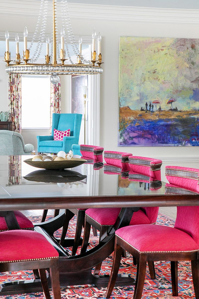Exquisite pink chairs with modern vibe add color to the neutral dining rooms