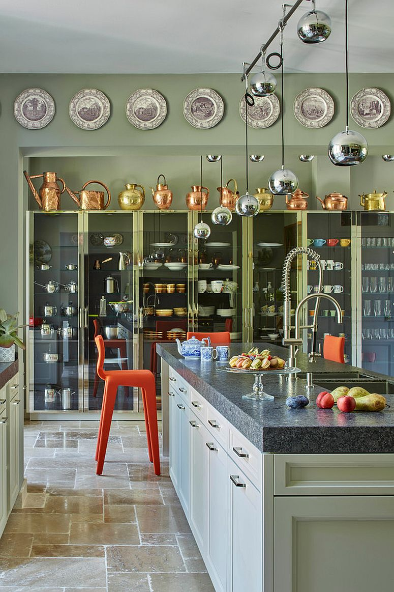 Fabulous use of kitchenware to add metallic glint for the modern green kitchen