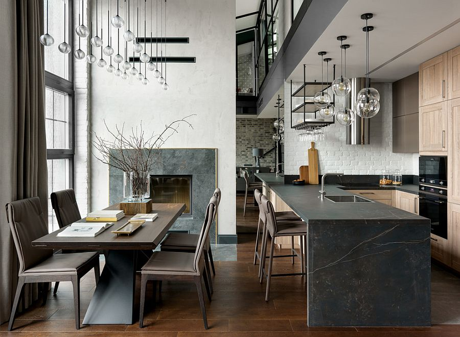 Hint-of-black-brought-into-the-kitchen-island-with-dark-stone-island-and-accents