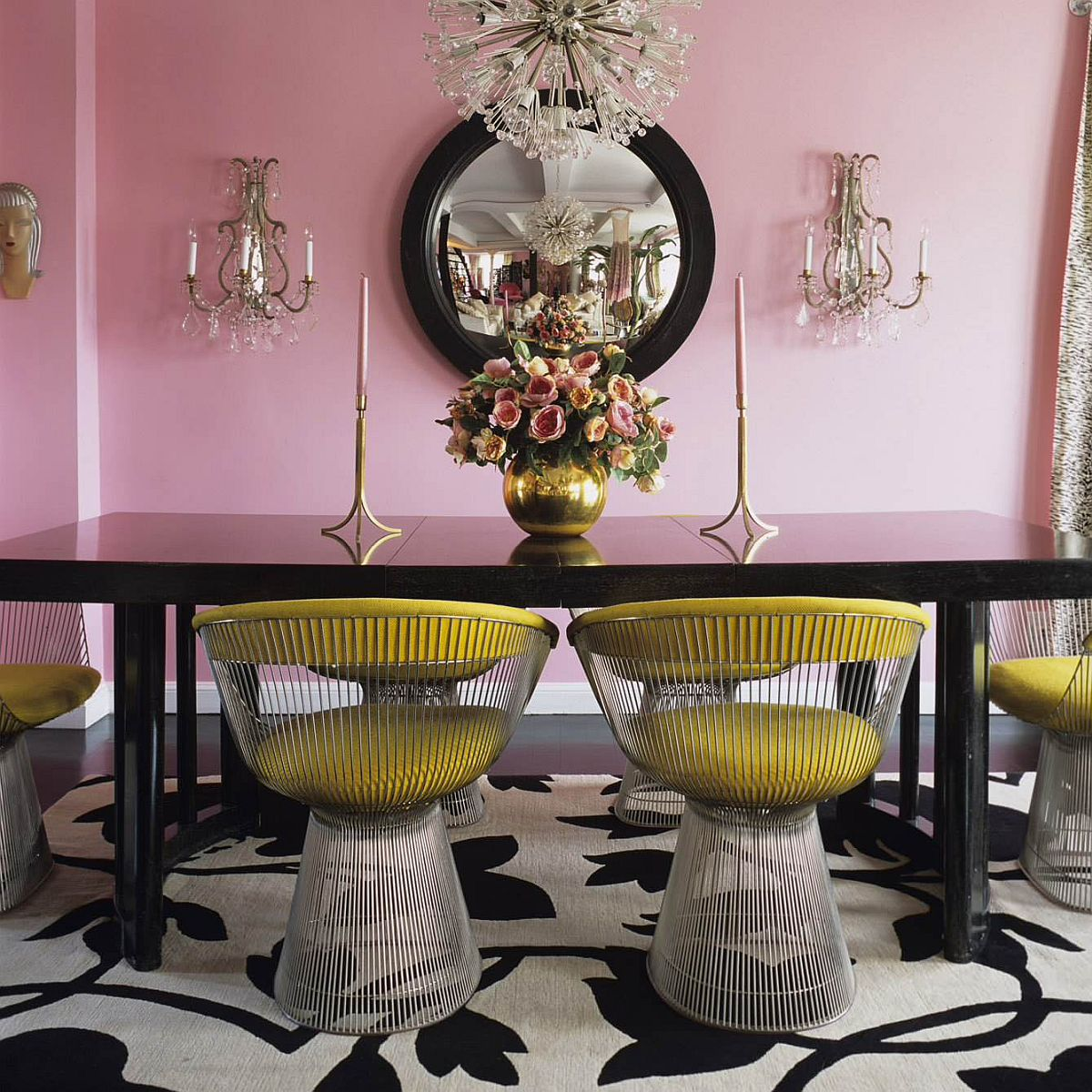 Iconic Platner Chairs bring contrast to the fab dining room in pink