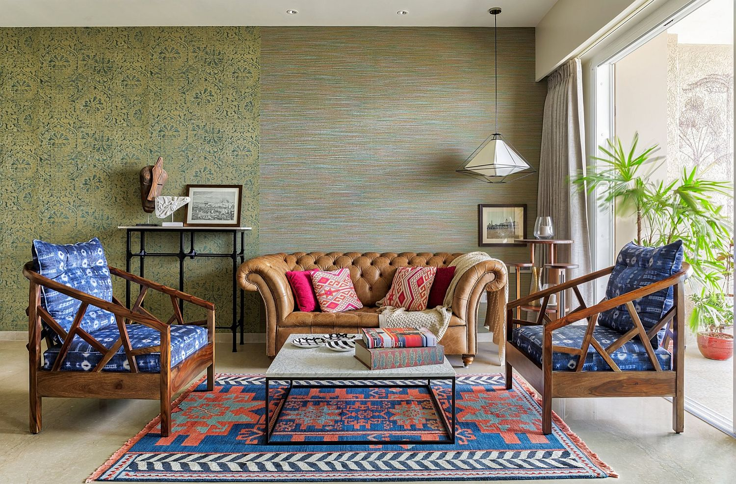 It is decor that brings vivacious color to this modern tropical living room in Mumbai
