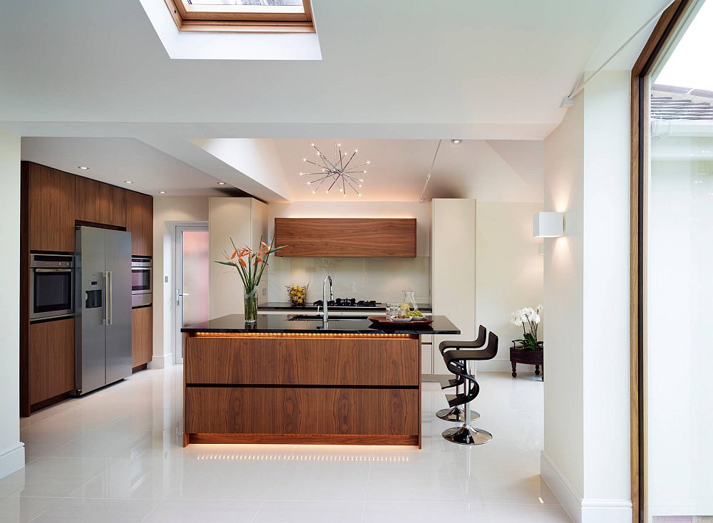 LED strip lighting for the modern kitchen in wood and white