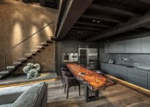 Live-edge-kitchen-island-and-breakfas-bar-coupled-with-dark-cabinets-and-gorgeous-LED-lights-217x155