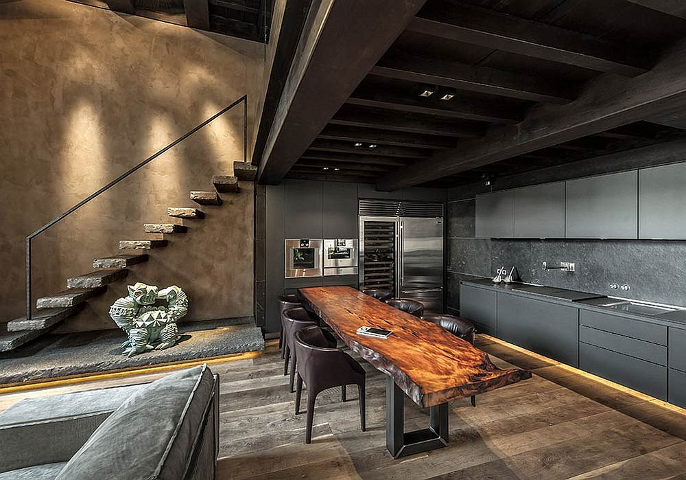 Live-edge-kitchen-island-and-breakfas-bar-coupled-with-dark-cabinets-and-gorgeous-LED-lights