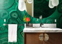 Malchite-pattern-wallpaper-for-the-bathroom-with-an-overload-of-green-217x155