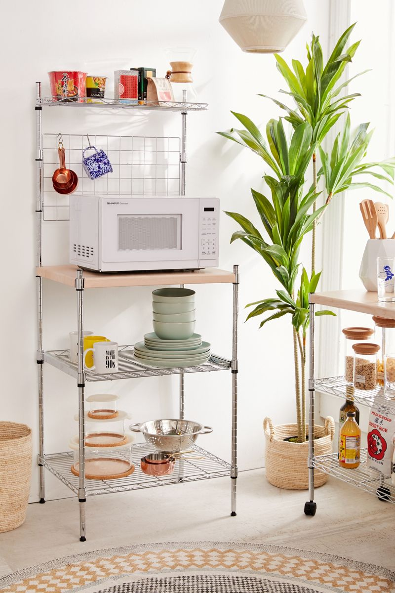 Metal and wood kitchen rack