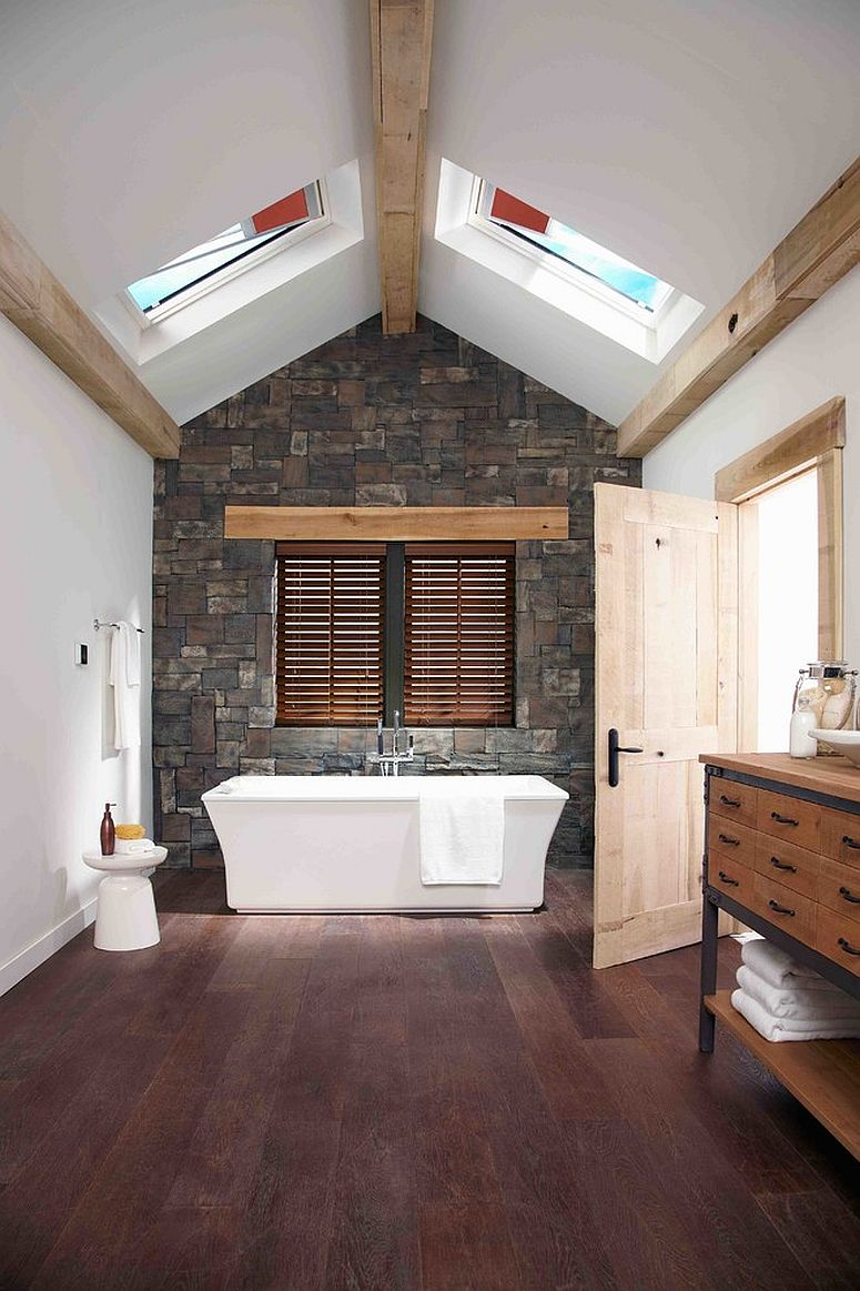 Modern spa-style combined with farmhouse finishes in the spacious bathroom