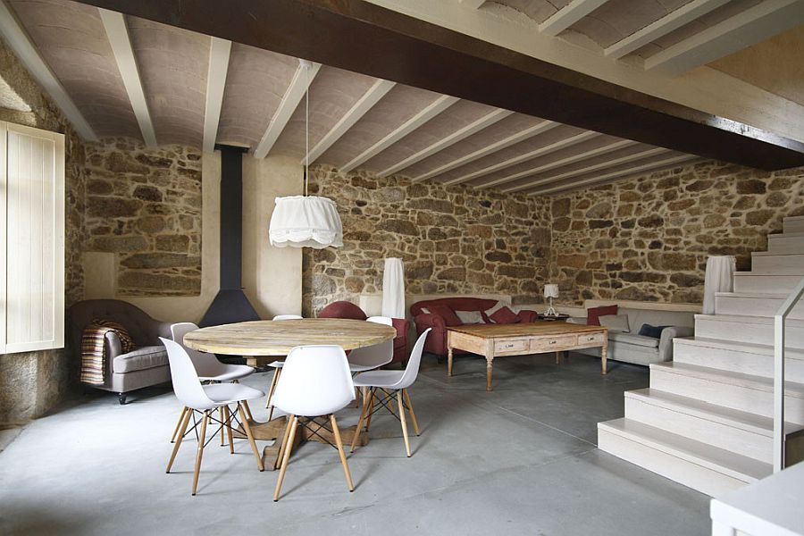 Mortar and stone coupled to create lovelu interior walls on the lower level