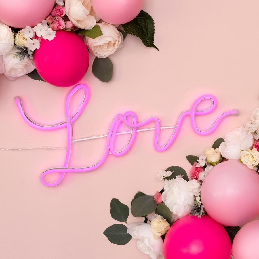 Neon pink love sign
