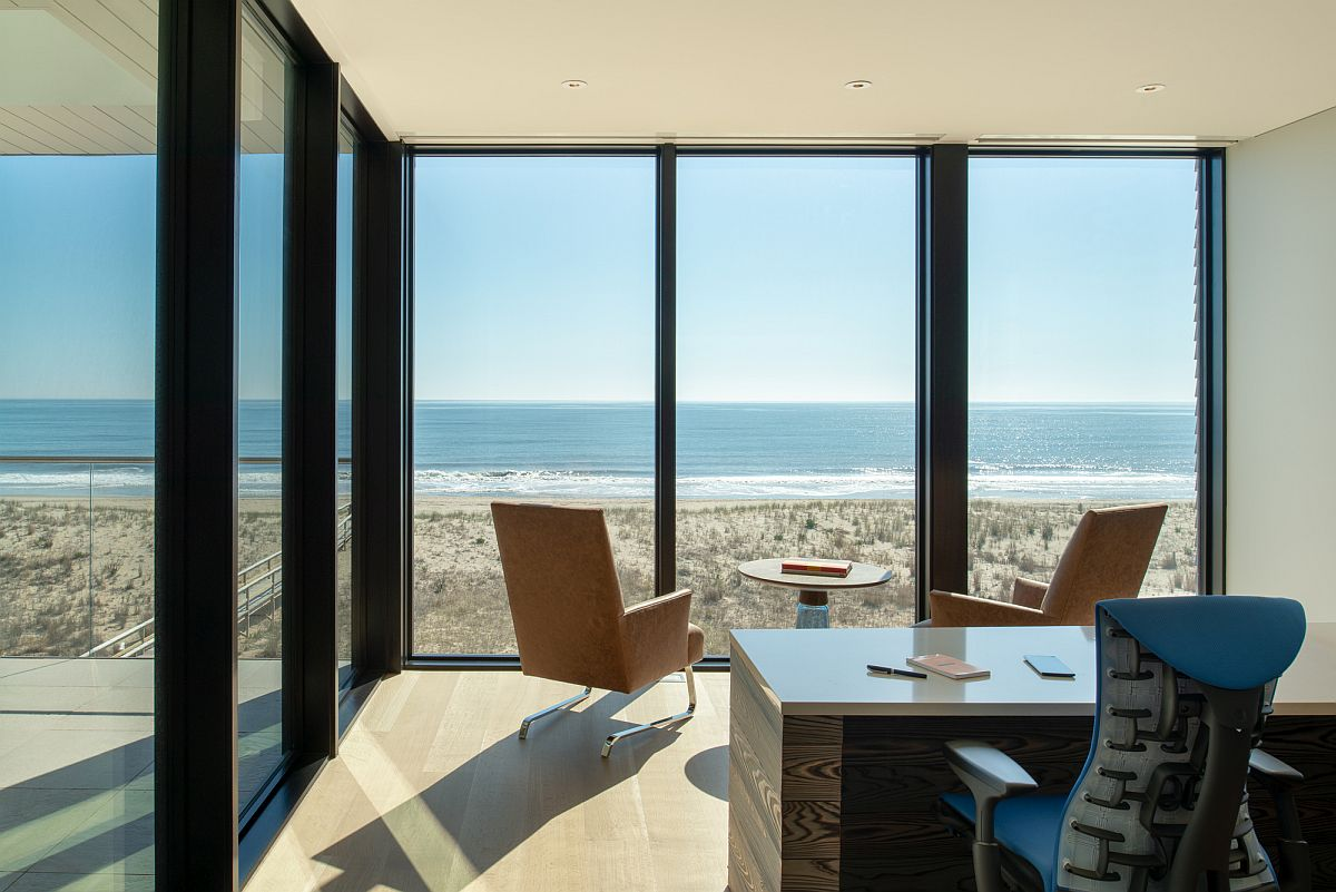 Ocean view from the upper level home office of the house