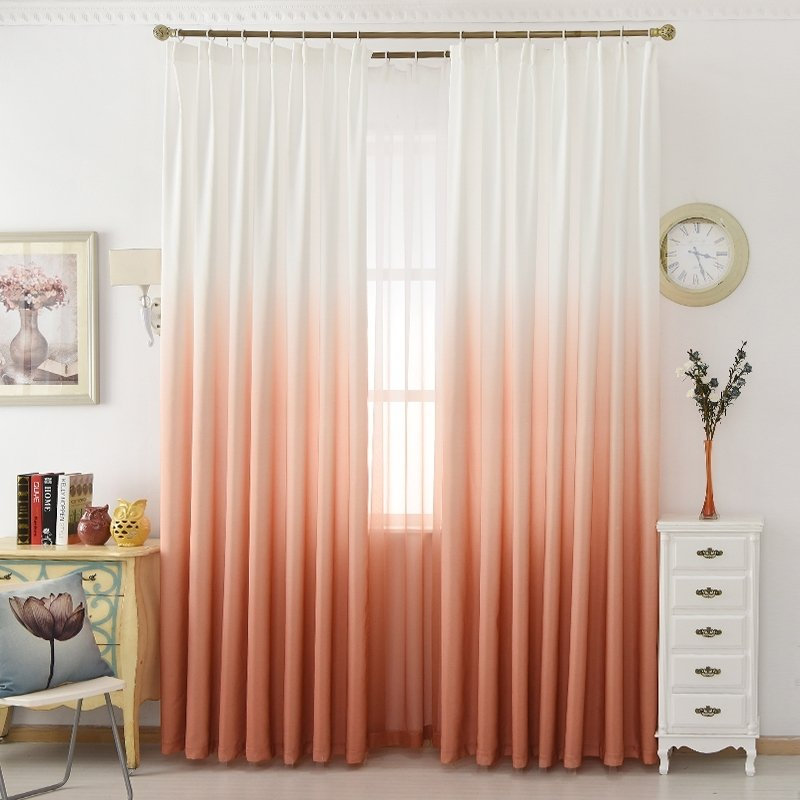 Ombre curtains in peachy-pink