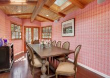 Pink-wallpaper-covers-the-walls-of-this-eclectic-modern-dining-room-with-wooden-ceiling-217x155