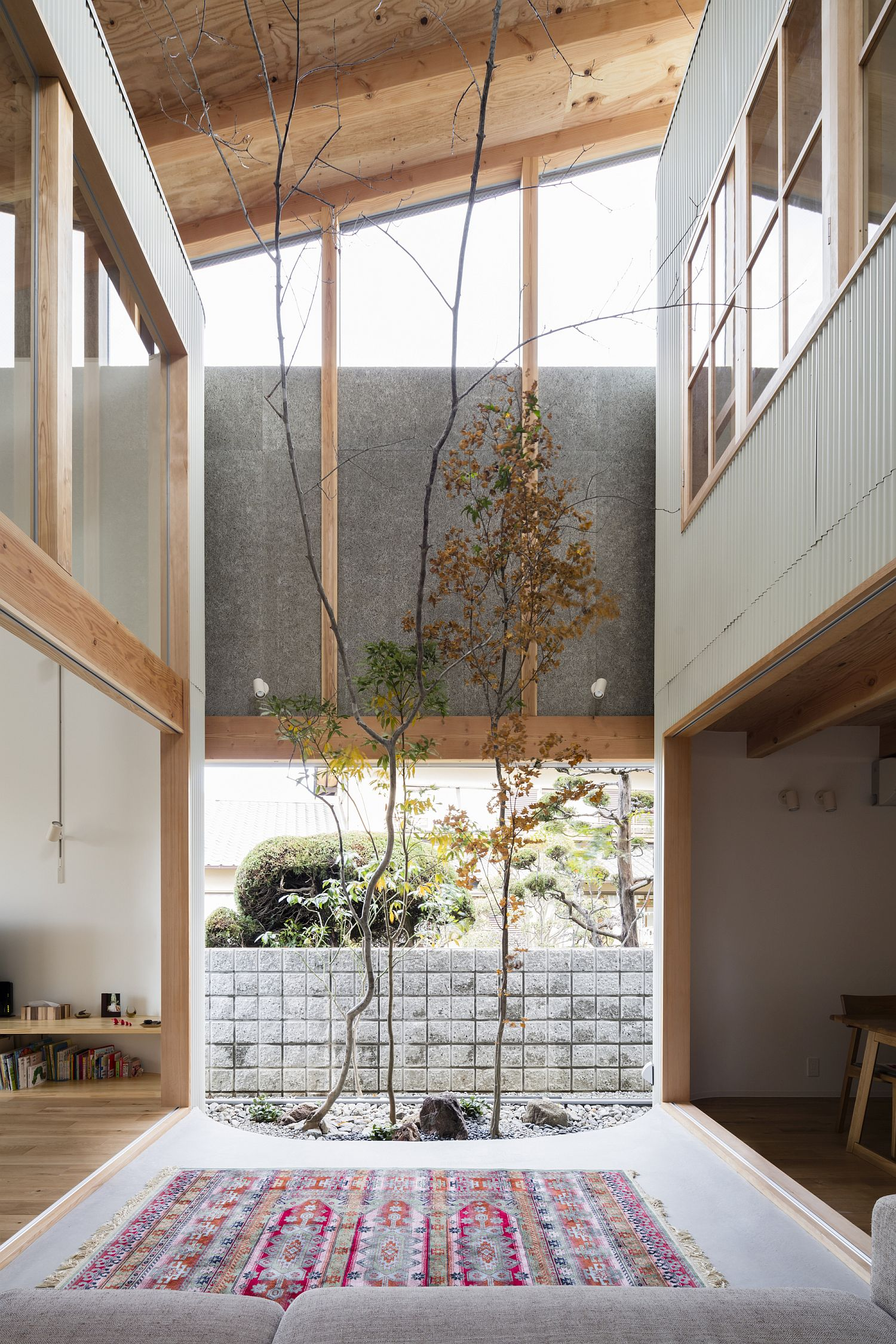 Placing the green area indoors gives the home a much greener, natural vibe