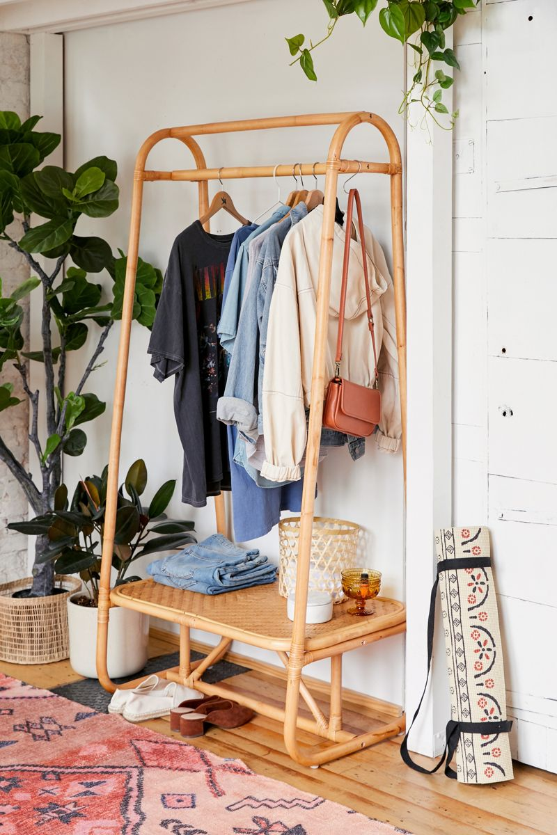 Rattan and bamboo clothing rack
