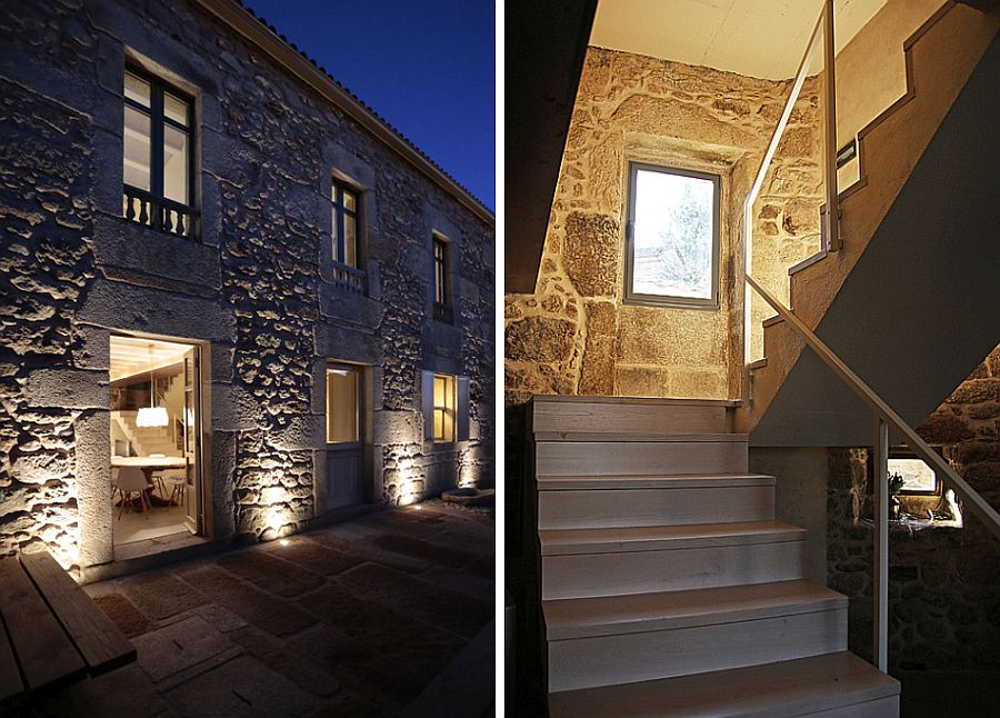Reclaimed stone shapes both the interior and exterior of the house